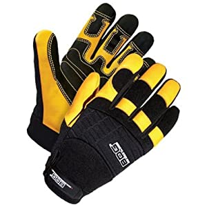 Bob Dale 20-1-10002-X2L Performance Rope/Rescue Glove with Grain Deerskin Rubberneck Palm, 2X-Large, Black