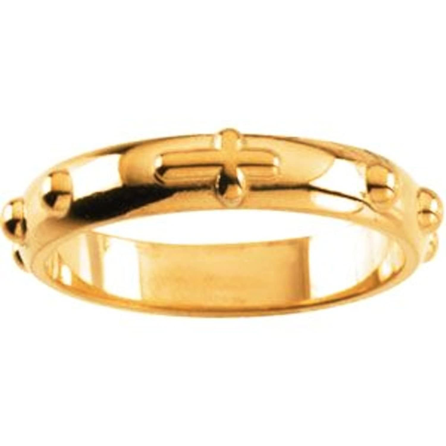 14k Yellow Gold Rosary Ring - Size 7