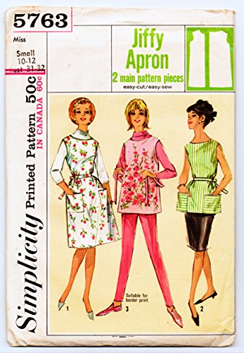 (Simplicity 5763 Misses' Jiffy Apron in Two Lengths Smock Sewing Pattern, Small 10-12 Vintage 1964)