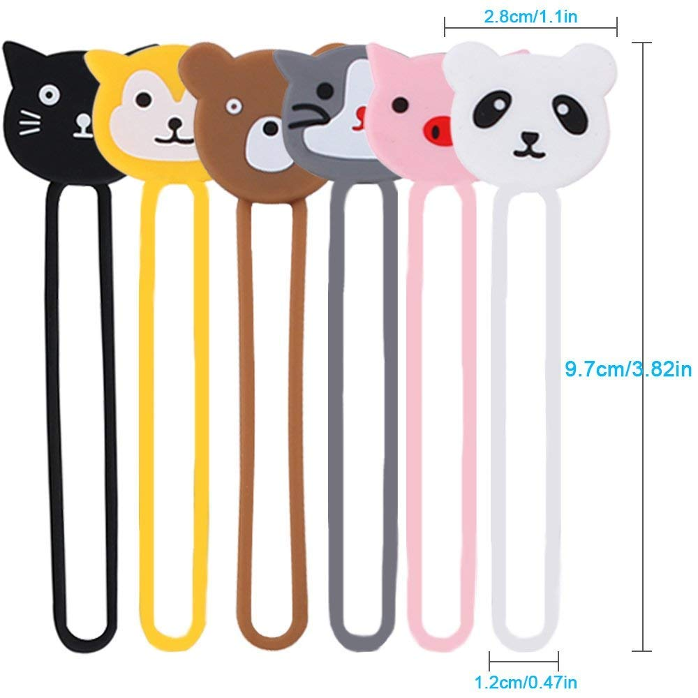 ABZON Cartoon Charger Cord Earphones Cable Organiser,12 Pack Animal Shapes Silicone Earbuds Strap Holder Winder Wrap Ties Twist /…
