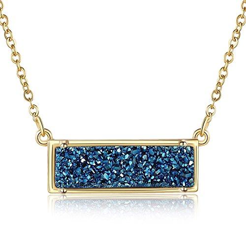 Ellena Rose Minimalist Druzy Necklace, 100% Natural Druzy, 14K Gold Plated Horizontal Bar Druzy Necklaces for Women, Genuine Druzy Jewelry, Druzy Bar Necklace (Blue)