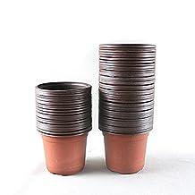 "TRUEDAYS Plastic Flower Seedlings Nursery Cute Pot/pots 4"", 100 Pack Intdoor&Outdoor"