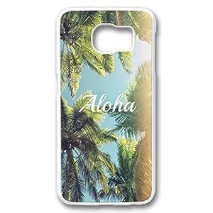 iCustomonline Galaxy S6 Edge Case Aloha Palm Trees Protective White Plastic Hard Case for Samsung Galaxy S6 Edge