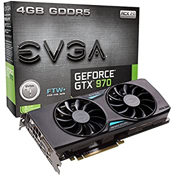 EVGA GeForce GTX 970 4GB FTW+ GAMING ACX 2.0+, Whisper Silent Cooling w/ Free Installed Backplate Graphics Card 04G-P4-3978-KR