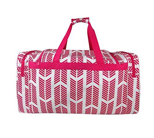 ND22-22-P Pink white Arrow Pattern Gym Dance Cheer Duffel Bag ()