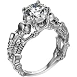 925 Silver Fashion Skull Women Men White Topaz Wedding Engagement Ring SZ6-10 by Siam panva (8)