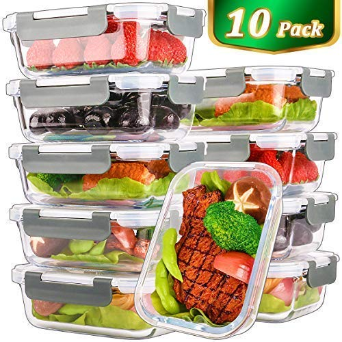 [10 Pack,22 Oz]Glass Meal Prep Containers,Glass Food Storage Containers with...