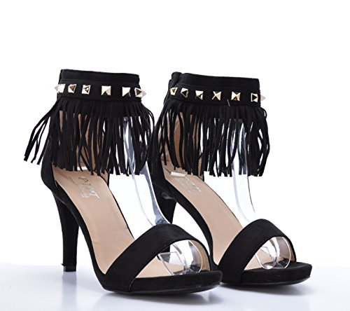 Zapato de Tacón Sexy con Flecos y Tachas