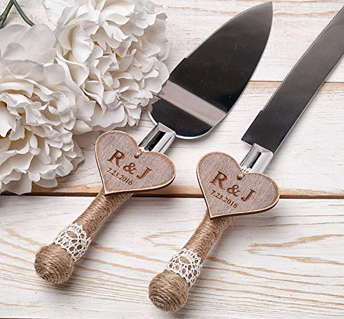 Personalized Cake Serving Set, Rustic Cake Servers, Knives Cake Server Set, Shabby Chic Wedding Cake Server, Mr and Mrs Keepsake Cutting Knife Set, Bride and Groom Cake Cutters by Ineses Wedding Gallery
