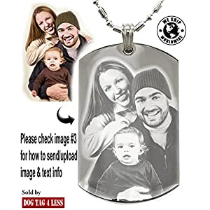 Personalized Photo Text Dogtags Custom Your Picture Text Necklace Pendant + Free Engraving # Valentine's Mother's Father's Day Gift #