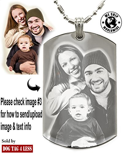 Personalized Photo Text Dogtags Custom Your Picture Text Necklace Pendant + Free Engraving # Valentine's Mother's Father's Day Gift # -