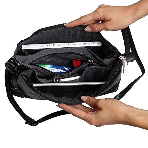 Picard Really 8210 schwarz , Damen Leder Umhängetasche Schultertasche Ledertasche Tasche
