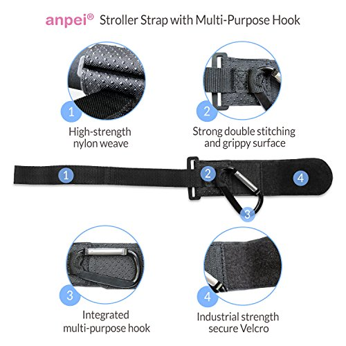 Stroller Safety Wrist Strap with Multipurpose Stroller Hook by AnPei (Image #2)