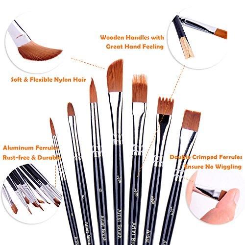 12pcs Oil Painting Brush Set Durable Acrylic Watercolor Paintbrush for Artist