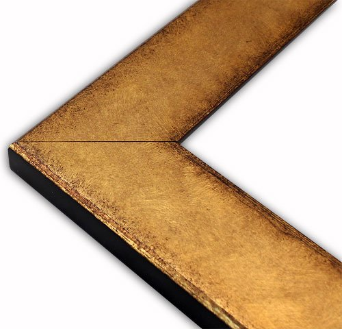 The Rusty Roof Flat Brushed Gold with Distressed Edge Picture Frame-Solid Wood-8.5x11