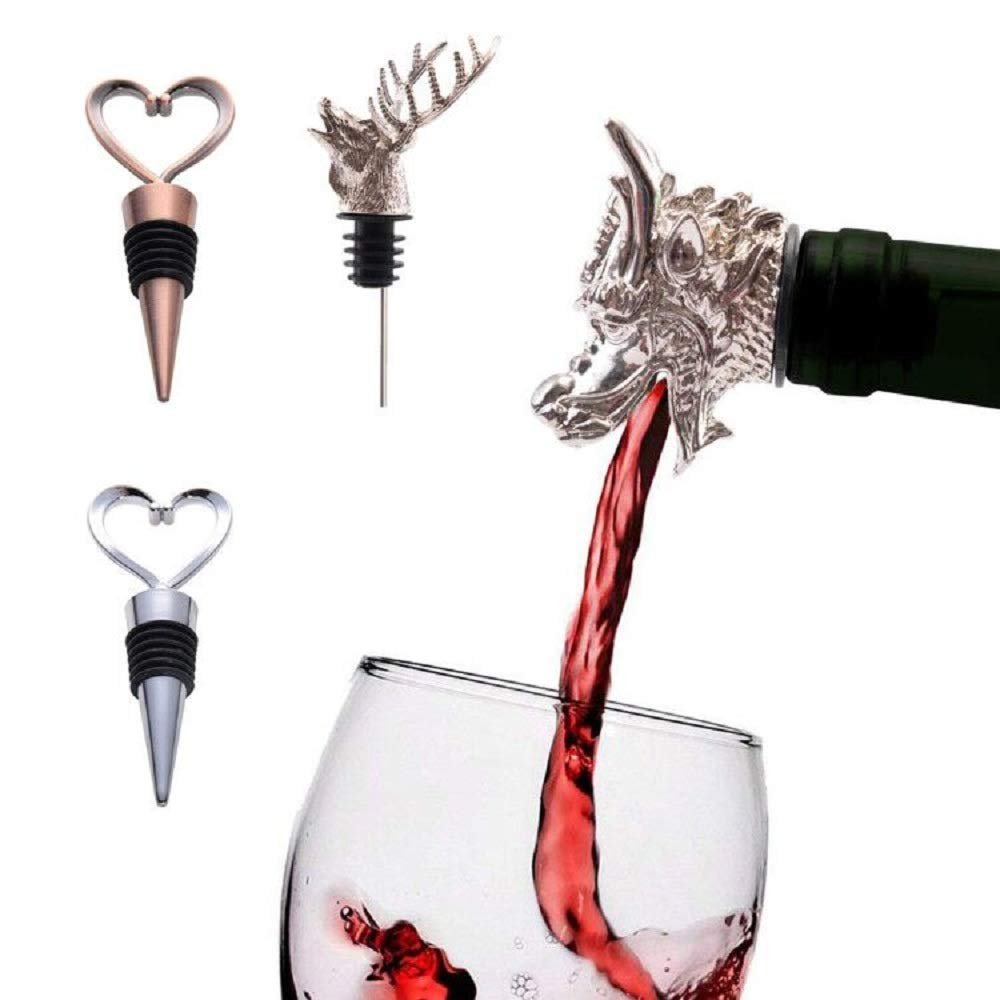 Premium Deer Head and Dragon Wine Bottle Aerator Pourer made of Zinc Alloy and Silicone Rubber(Eco-Friendly),Fantastic Beast Reuseable Decanter Spout,Wine Server Tools Gifts 2pcs by AMP-STW