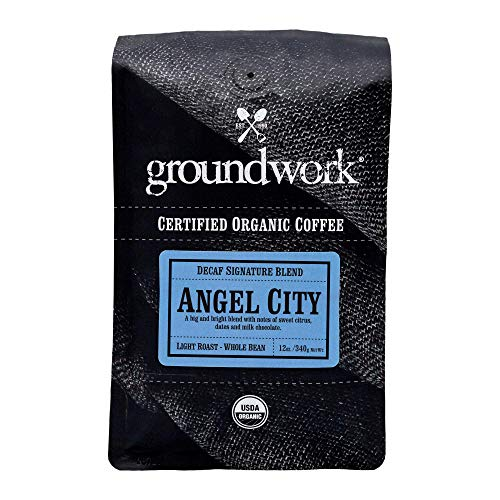 Groundwork Organic Whole Bean Light Roast Coffee, Decaf Angel City, 12 Ounce Bag