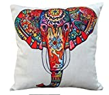 Decorative Pillow Cover - CoolDream Cotton Linen 18 by 18-Inch Decorative Throw Pillow Cover, Multicolor Elephant