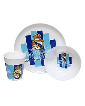 REAL MADRID CF® Set Desayuno Vaso, Tazón y Plato Microondas: Amazon.es: Hogar
