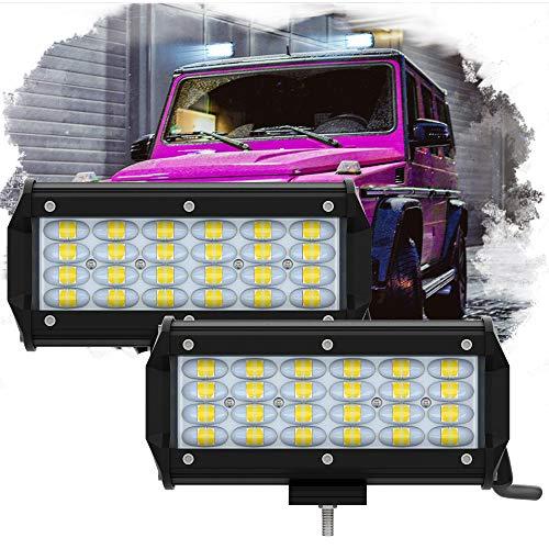 7 Inch LED Light Bar, ZUULLEN LED Pods Light 240W 24000LM Spot Flood Lights, IP68 Waterproof Super Bright Driving Work Lights for Pickup Truck Jeep Boat SUV UTV ATV (2 Pack)