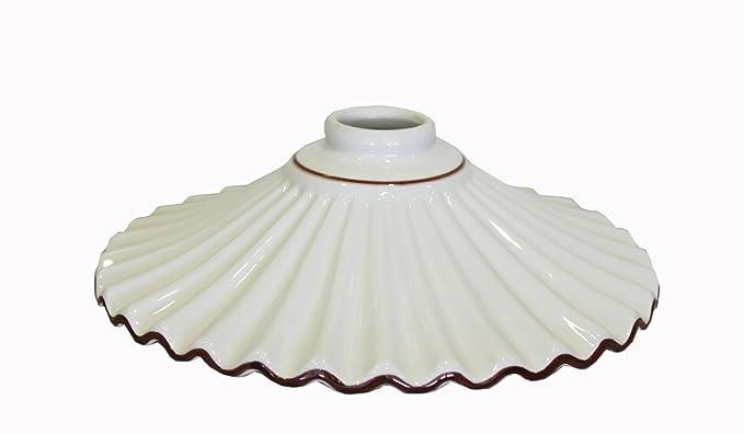 Lampadario Rustico Ceramica : Ricambio paralume piatto in ceramica bianca con bordo marrone