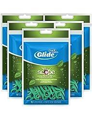 Oral-B Complete Glide Dental Floss Picks Plus Scope Outlast, Long Lasting Mint, 75 Dental Floss Picks, (Pack of 6)