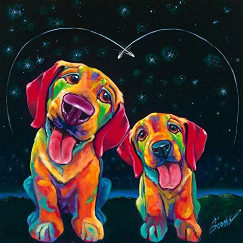 DIY 5D Diamond Painting via Number Kits for Adults Kids, Round Full Drill Crystal Rhinestone Diamond Embroidery Paintings Dog Pictures Arts Craft for Home Wall Decor 30x30cm/12x12in