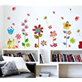 DecoBay Colourful Flowers and Butterflies Premium Wall Stickers - Removable and Repositionable
