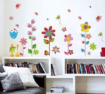 Wandtattoo Wandaufkleber Blumen Und Schmetterlinge Premium Wand Sticker PVC  Kinderzimmer + Kostenlose Blumen Design