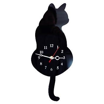 TOOGOO Reloj de pared lindo gato 3D mover el rabo silencio Decoracion de casa Regalo de ninos Negro: Amazon.es: Hogar