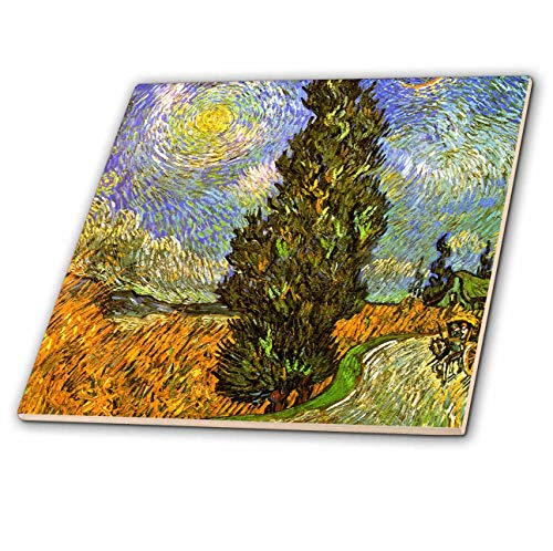 - 3dRose VintageChest – Masterpieces - Van Gogh - Road with Cypress and Star - 8 Inch Ceramic Tile (ct_303220_3)