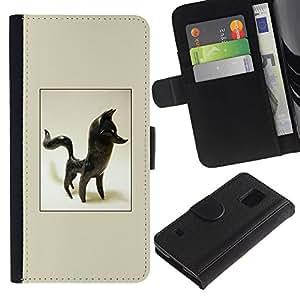 iBinBang / Flip Funda de Cuero Case Cover - Fox Statuette 3D Figurine Art Black Animal - Samsung Galaxy S5 V SM-G900