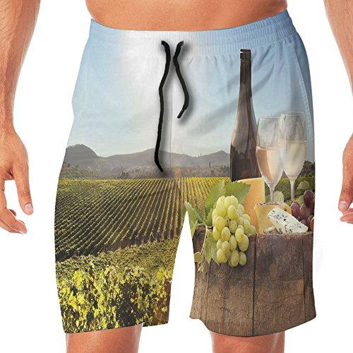 Haixia Men Casual Beach Pants Wine White Wine