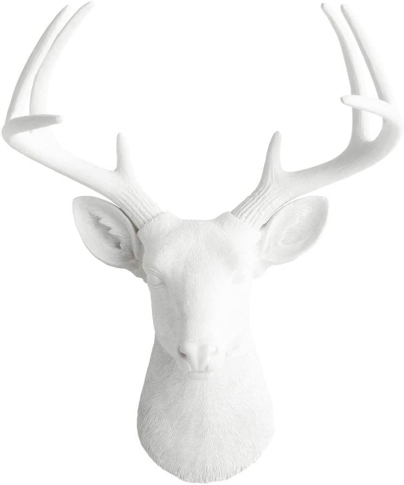 Wall Charmers Large White Faux Deer Head – 21 inch Faux Taxidermy Animal Head Wall Decor – Handmade Farmhouse Decor – Rustic Wall Decor Deer Antlers