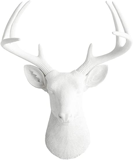 Wall Charmers Large White Faux Deer Head