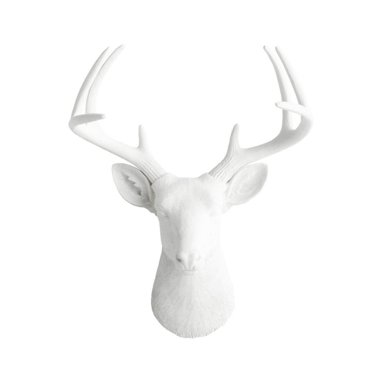 "WALL CHARMERS Large White Faux Deer Head - 21"" Faux Taxidermy Animal Head Wall Decor - Handmade Farmhouse Decor"