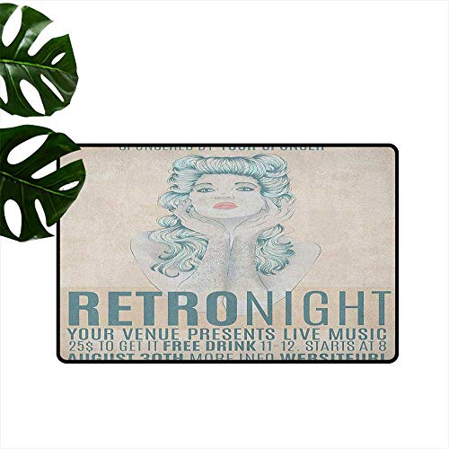 (RenteriaDecor Indie,Custom Floor Mat Retro Night Theme Poster Design Attractive Woman with Old Fashioned Hair Style 31