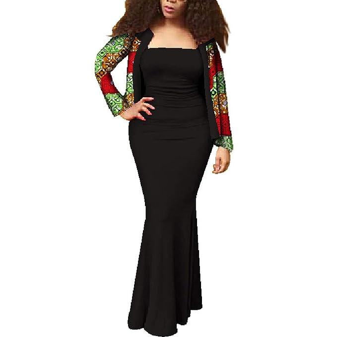 Amazon.com: Vestido de sirena sin mangas y chaqueta africana ...