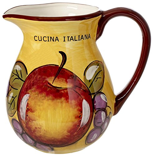 Cucina Italiana Ceramic Wine Pitcher 80 oz. Fruit (Vintage Carafe)