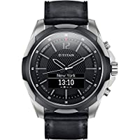 Titan Titanium Smartwatch with Black Leather Straps