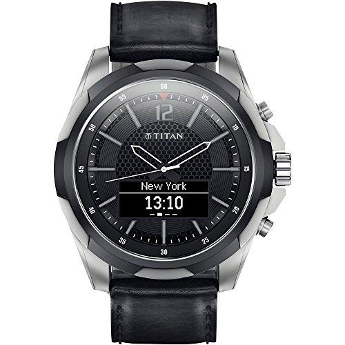 Titan Titanium Smartwatch with Black Leather Straps