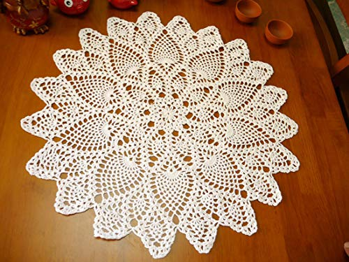 Damanni Cotton Handmade Crochet Lace Tablecloth Doilies Doily,Round,Beige,20 Inch,2PC