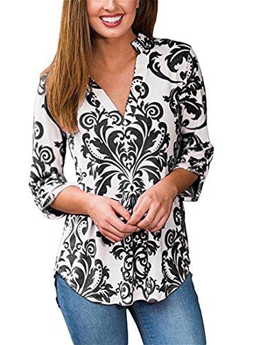 Minetom Damen Casual Blumenmuster Bluse Tiefer V-Ausschnitt 3/4 Ärmel Oversize Loose Fit Hemd Saum Asymmetrisch Longshirt T Shirt Top Schwarz