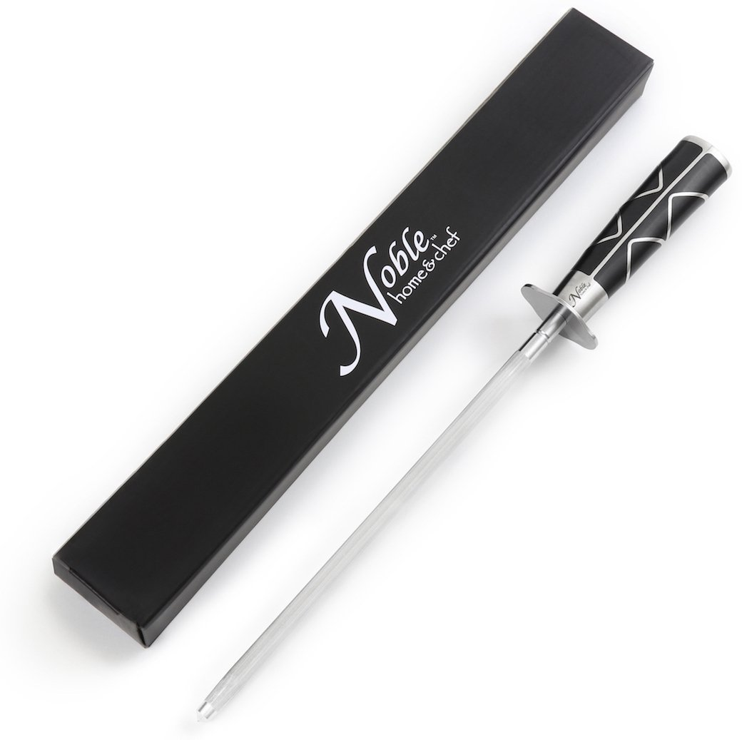 "Professional Knife Sharpening Steel (12""), Magnetized for Safety. Our Honing Rod Has an Oval Handle for a Firm Grip and is Built For Daily Use, Perfect for Chefs and Home Cooks Alike!"