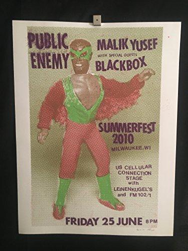 Public Enemy, Malik Yusef, Blackbox Summerfest Milwaukee 2010 Silkscreen Concert Poster, Kanye West, Good Music, Signed/Numbered by artist Steve (Silkscreen Concert Poster)