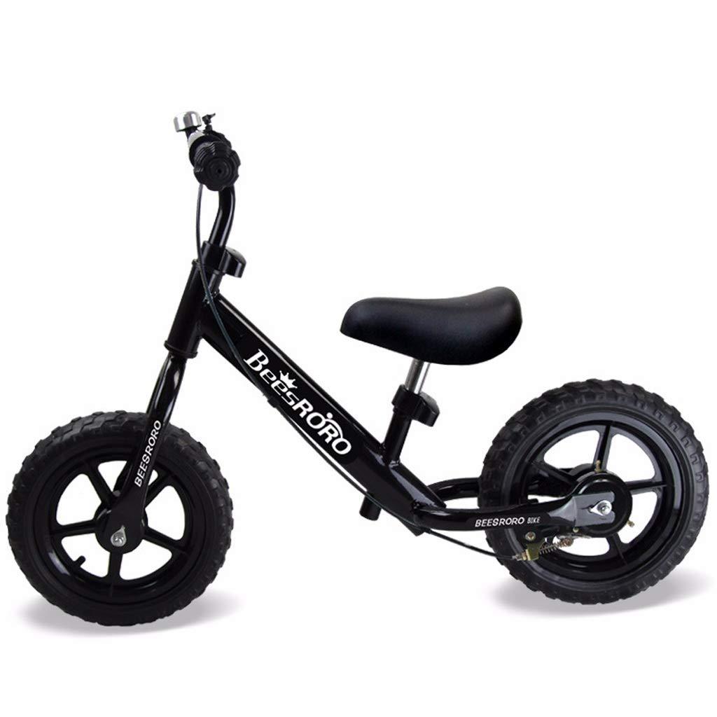 ハンドブレーキ付き子供用バランスバイク、保護ギア付きペダルなしベビー自転車、調整可能なハンドルバーとシート  黒 B07PLJDTXK