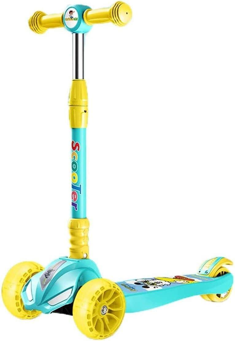 GFF Scooters para niños, Scooter de Ajuste de Altura de 3 velocidades Rueda de Flash silencioso de PU 2-12 años Niños Niños y niñas Juguetes Regalos Scooter Plegable