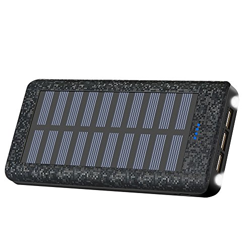 Portable Charger Solar Charger Power Bank 24000mah High Capacity 3 USB Output Ports Backup Battery Compatible iPhone iPad Tablet Samsung HTC Android Phone More