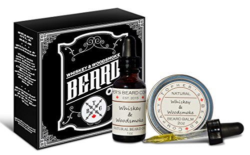 Premium Scented Beard Oil and Balm Combo (1oz & 2oz) – Topher's Beard Company for Growth, Moisturizing and Conditioning (Whiskey & Woodsmoke)