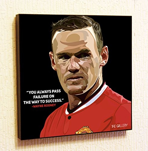 (Wayne Rooney Manchester United MU Decor Motivational Quotes Wall Decals Pop Art Gifts Portrait Framed Famous Paintings on Acrylic Canvas Poster Prints Artwork Geek (10x10